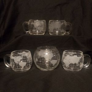 Vintage Nestle Frosted Glass Globe Mugs - Set Of 5